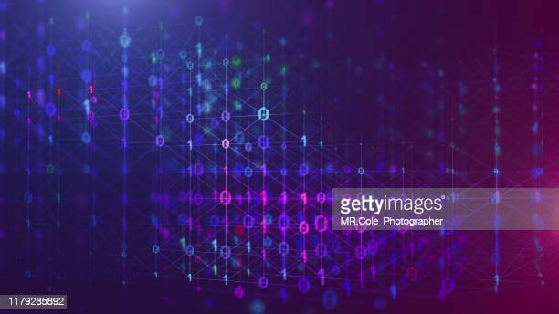 3d illustration rendering of binary code pattern abstract background.futuristic particles for business,science and technology - binary code stock pictures, royalty-free photos & images