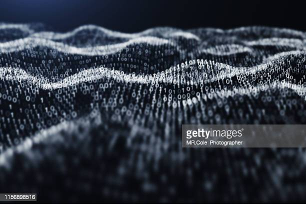 3d illustration rendering of binary code pattern.futuristic particles digital landscape wave abstract background for business,science and technology - hud graphical user interface stock photos and pictures