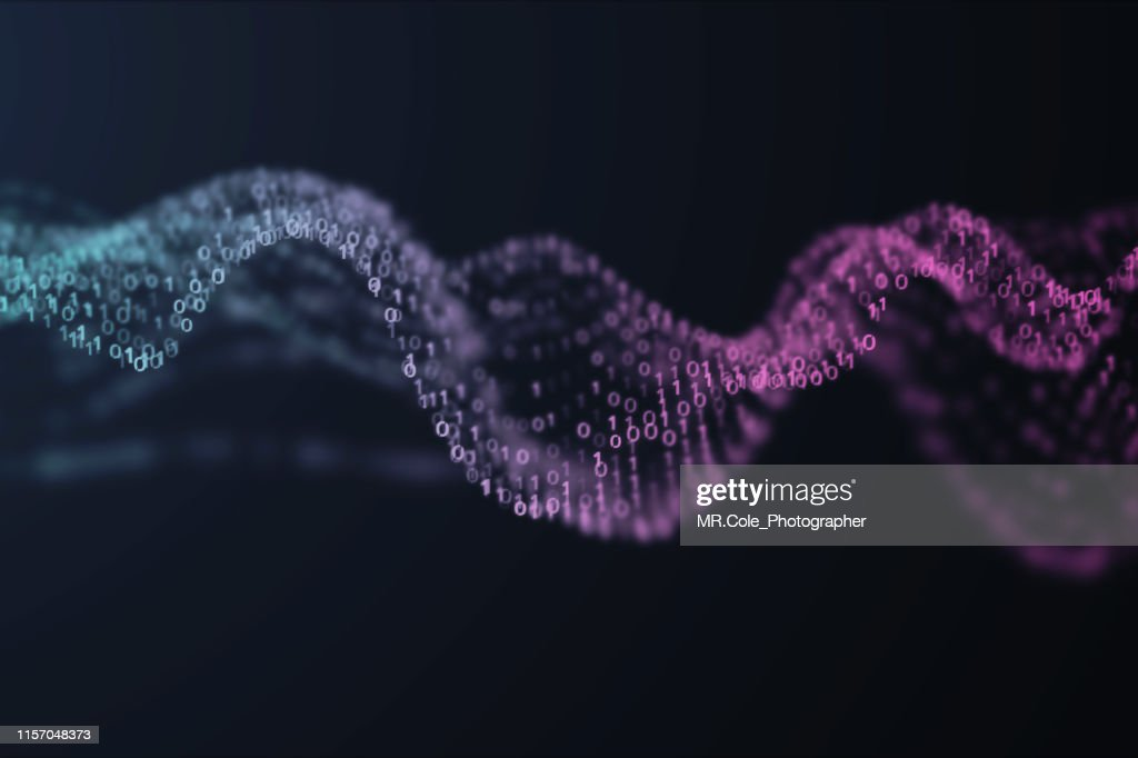 3D illustration Rendering of binary code pattern.Futuristic Particles digital Landscape wave Abstract background for business,Science and technology : Stock Photo