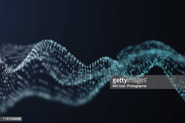 3d illustration rendering of binary code pattern.futuristic particles digital landscape wave abstract background for business,science and technology - hud graphical user interface fotografías e imágenes de stock