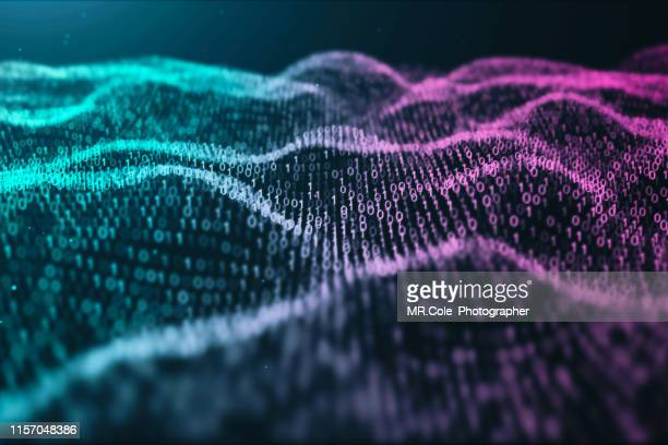 3d illustration rendering of binary code pattern.futuristic particles digital landscape wave abstract background for business,science and technology - scientificsubjects stock pictures, royalty-free photos & images