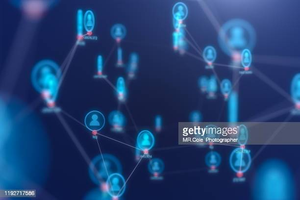 3d illustration rendering of people connection technology concept,futuristic  abstract background for business science and technology - elektronische organiser stockfoto's en -beelden