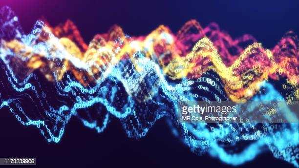 3d illustration rendering wave of binary code pattern abstract background.futuristic particles for business,science and technology background - hud graphical user interface stock photos and pictures