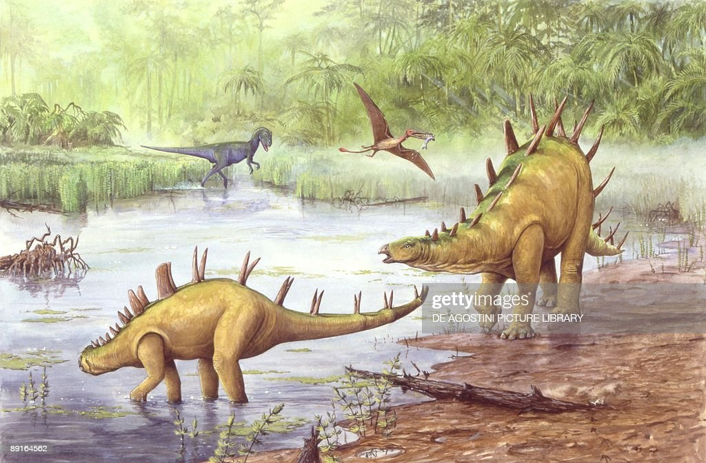 Illustration representing Chialingosaurus and calf by river : News Photo