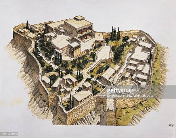 Illustration representing reconstruction of ancient Mycenae Greece
