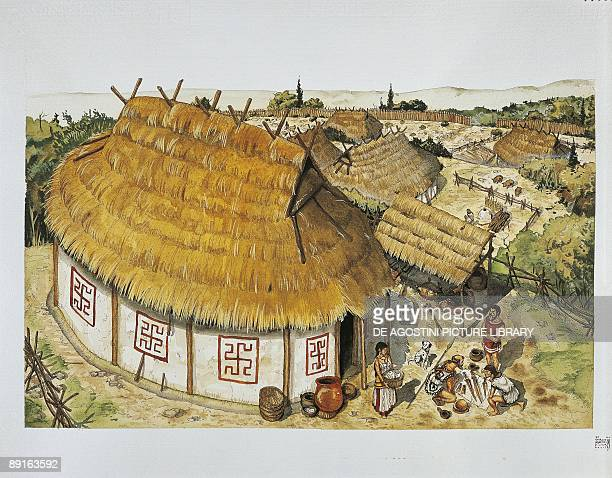 Illustration representing reconstruction of dwelling hut late bronzeearly iron age Mycenae Greece