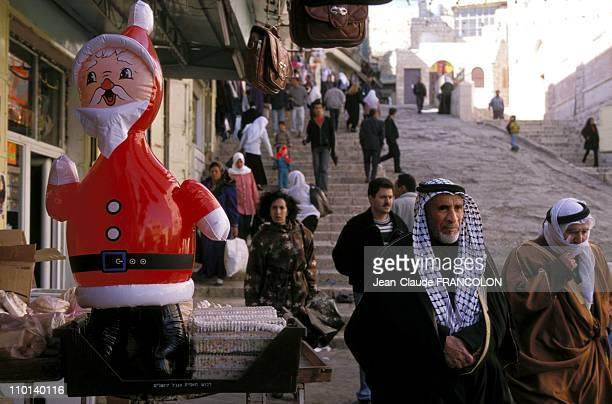 Illustration Santa Claus in Bethlehem Israel in December 1997
