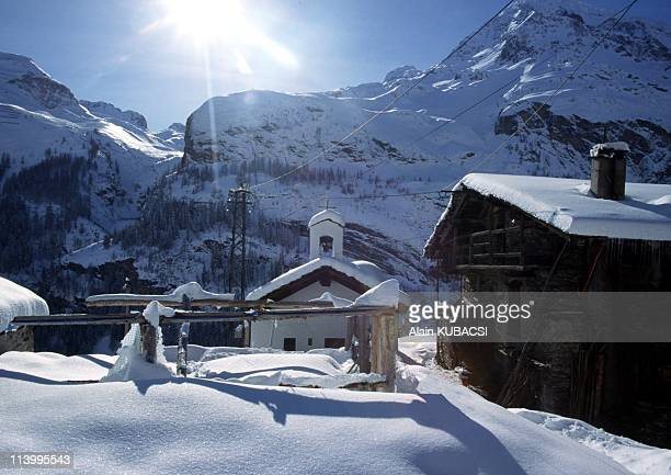 Illustration Savoie the Vanoise national park In Sainte Foy France In February 2004Les Brevieres hamlet Part of Tignes city area this hamlet lost in...