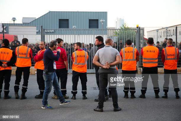 Illustration Security for the departure of the bus of the players of lyon during the Ligue 1 match between SC Bastia and Olympique Lyonnais Lyon at...