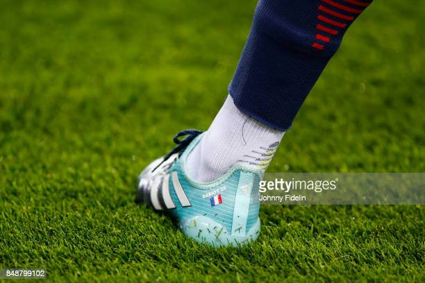 Illustration Shoes of Adrien Rabiot of PSG during the Ligue 1 match between Paris Saint Germain and Olympique Lyonnais at Parc des Princes on...