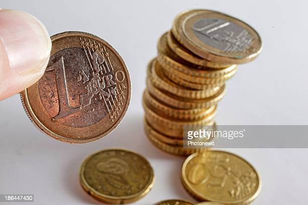 Illustration shots of Euro coins pictured on October 31 2013 in Brussels Belgium