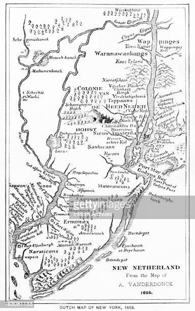 Illustration showing a Dutch map of New York and New Jersey titled 'New Netherland' from the map of A Vanderdonck 1656
