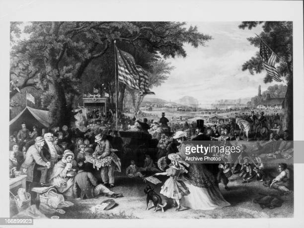 Illustration showing a large old fashioned Independence day Fourth of July celebration with the flag of the USA on display circa 18551869