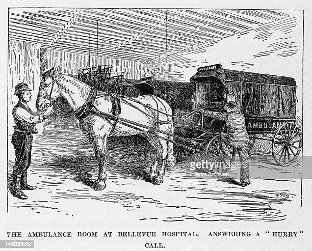 Illustration showing an ambulance driver climbing aboard the horsedrawn ambulance wagon in response to a 'hurry' call from the ambulance room at...
