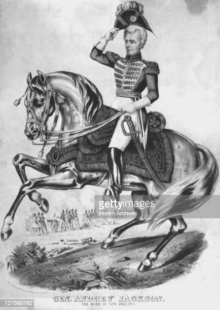 Illustration showing an equestrian portrait of General Andrew Jackson the hero of New Orleans and the seventh president of the United States ca1815