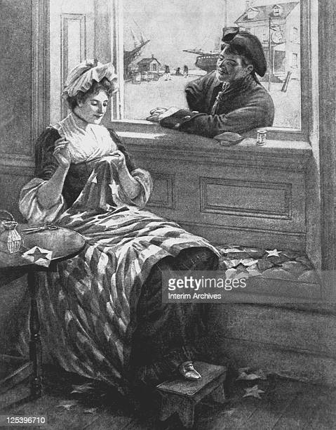 Illustration showing Betsy Ross making the first flag a male visitor watches her work through an open window 1776