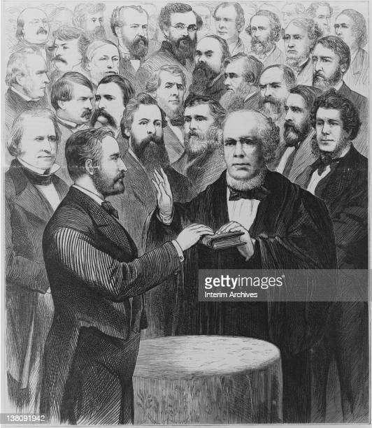 Illustration showing Chief Justice Salmon Chase as he administers the oath of office to President Ulysses S Grant who holds his hand on the Bible...