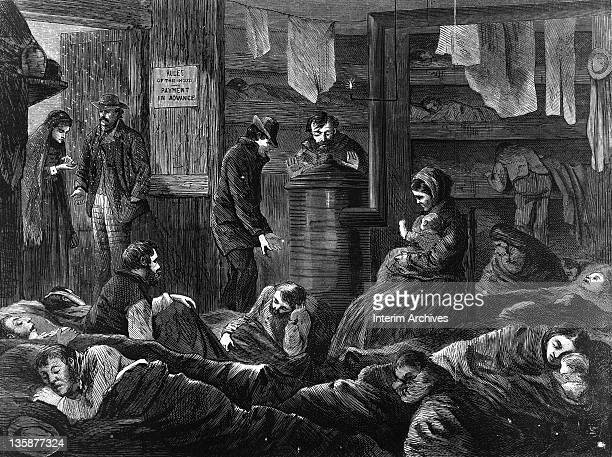 Illustration showing crowded conditions suffered by the poor in underground lodgings on Greenwich Street in New York City 1969 The image shows men...