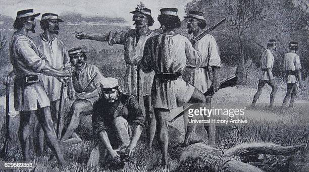 Illustration showing early British colonists in Queensland Australia Dated 1860
