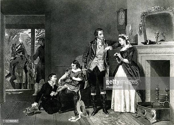 Illustration showing George Washington wooing Martha Custis 1758
