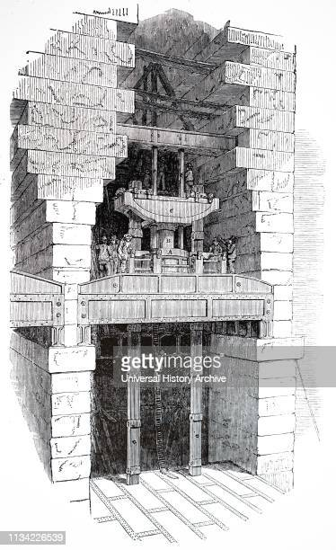 Illustration. Showing Hydraulic lifting gear used to raise the tubes of the Britannia bridge. Over the Menai Straits. Into position. Begun by Robert...