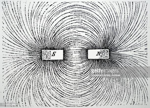 Illustration showing LINES OF MAGNETIC FORCE using two magnets with iron filings 1890.