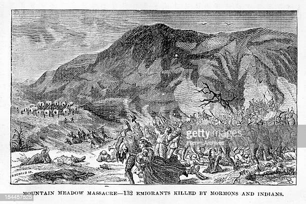 Illustration showing Native Americans and Mormons participating in the murder and massacre of the BakerFancher party a group of emigrants traveling...