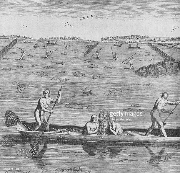Illustration showing native men and women from Virginia using baskets or nets to fish from a canoe while in the background others stand and spear...