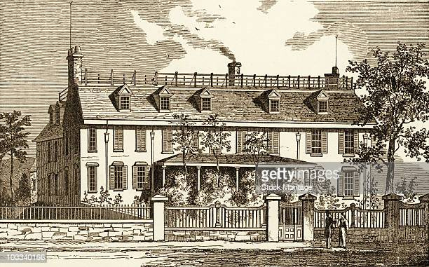 Illustration showing Peacefield or Old House the home of US President John Adams in Qunicy Massachusetts From a 19th century woodcut