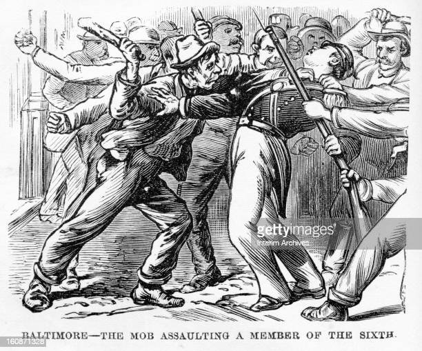 Illustration showing rioters and strikers attacking a soldier of the Sixth Regiment of the National Guard during the Great Railroad Strike of 1877...