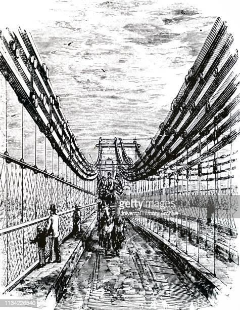 Illustration showing Roadway on Telford's. Suspension bridge over the Menai Straits. Built between 1820 and 1826 as part of the London to Holyhead...