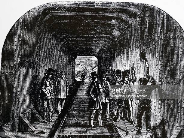 Illustration. Showing Robert Stephenson putting the last rivet in the Britannia tubular bridge. Over the Menai Straits. Begun by Stephenson in 1846....