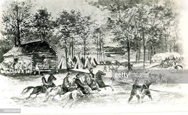 Illustration showing soldiers around the Shiloh log chapel from where the Battle of Shiloh commenced during the American Civil War April 6 1862