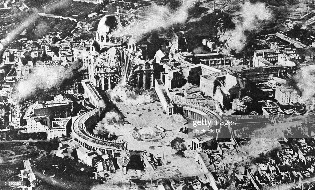 Illustration showing St.Peter's church in Rome after a ficticious airstrike by french forces - 1940- Photographer: Presse-Illustrationen Heinrich Hoffmann- Published by: 'Das 12 Uhr Blatt' 17.06.1940Vintage property of ullstein bild : News Photo