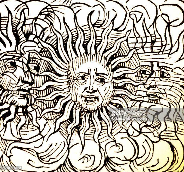 Illustration showing Sun dog phenomenon depicted in the Nuremberg Chronicle 1493 This version was associated with the death of Julius Caesar in 44 BC...