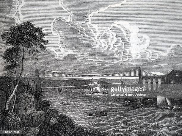 Illustration showing Telford's Menai suspension bridge. Detail from an undated broadsheet.