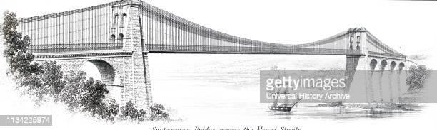 Illustration showing Telford's Menai suspension bridge Detail from an undated broadsheet