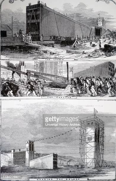 Illustration. Showing The Britannia tubular bridge: launching the main tube. The tube was floated to the base of the masonry piers. And then lifted...