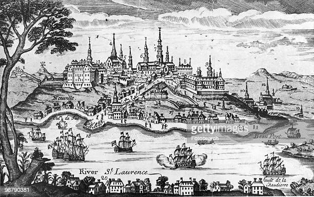 Illustration showing the city of Quebec and the Saint Laurence River at the time of the attack by United States Forces Point 20 marks the position of...