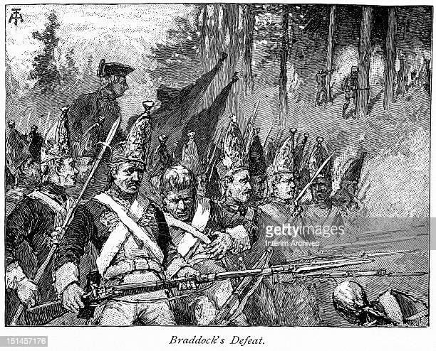 Illustration showing the defeat of British General Edward Braddock and his expedition as they are attacked by Native American allies of the French...
