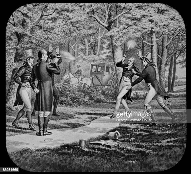 Illustration showing the duel between Alexander Hamilton and Aaron Burr 1804