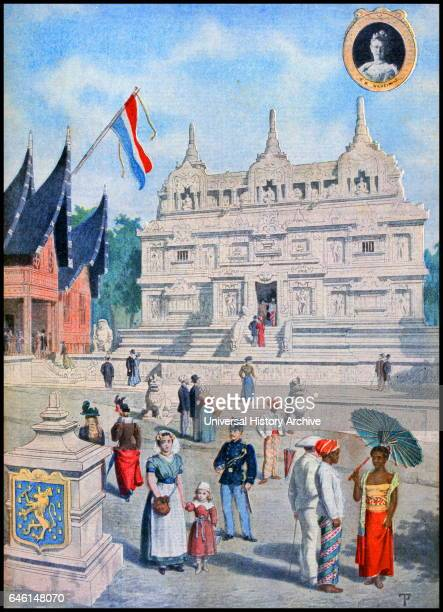 Illustration showing the Dutch East Indies Pavilion at the Exposition Universelle of 1900 A portrait of Queen Wilhelmina is inset This was a fair...