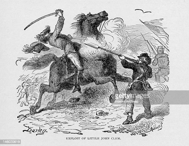 Illustration showing the exploit of the young boy Little John Clem as he shoots a horsed Confederate colonel during the Union retreat at the Battle...