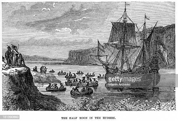 Illustration showing the explorer Henry Hudson's ship 'Half Moon' as it explores the river with Native Americans rowing in canoes to meet the ship...