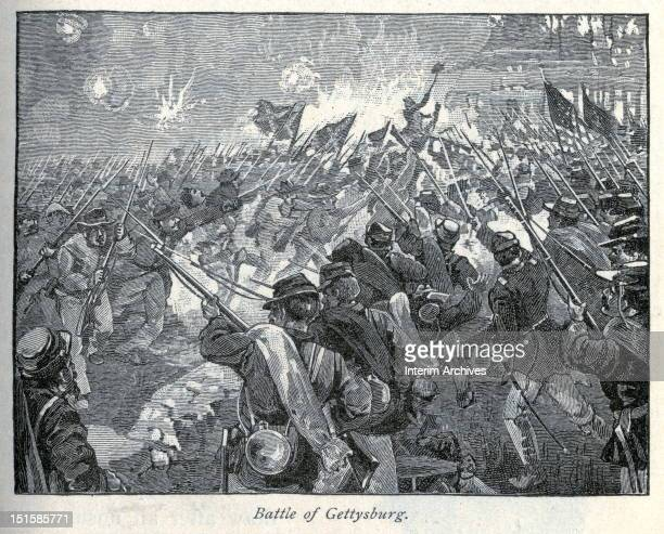Illustration showing the fierce close quarters fighting as Confederate and Union forces meet at the Battle of Gettysburg, during the American Civil...