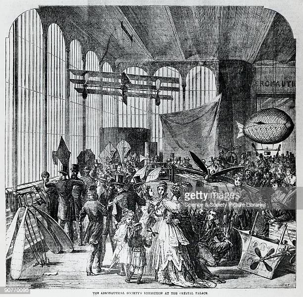 Illustration showing the first exhibition to deal with aeronautics in the UK organised by the Aeronautical Society showing Stringfellow's triplane...