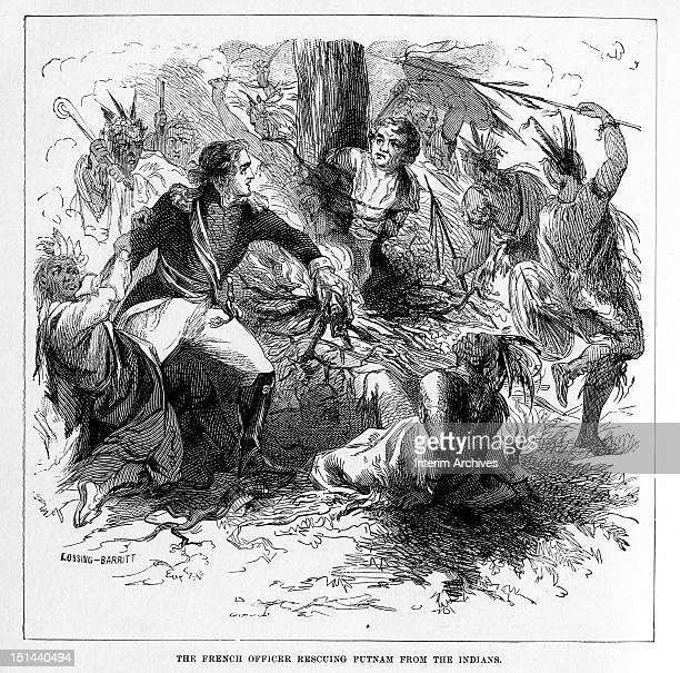 Illustration showing the French officer Molang rescuing Major Israel Putnam from burning at the stake at the hands of his Indian captors during the...