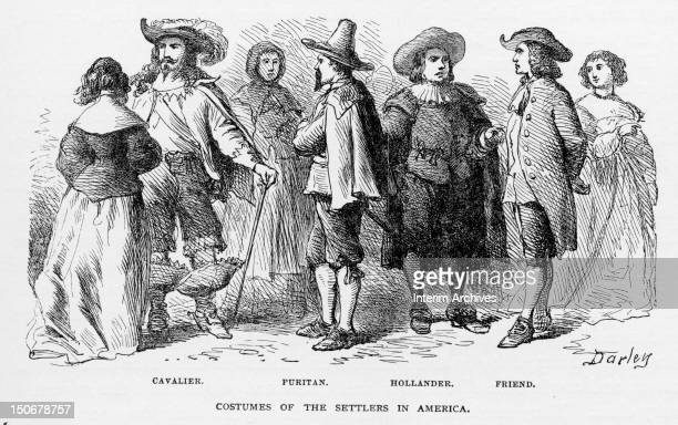 Illustration showing the manners of dress and costumes of the settlers in America from left to right the Cavalier the Puritan the Hollander and the...