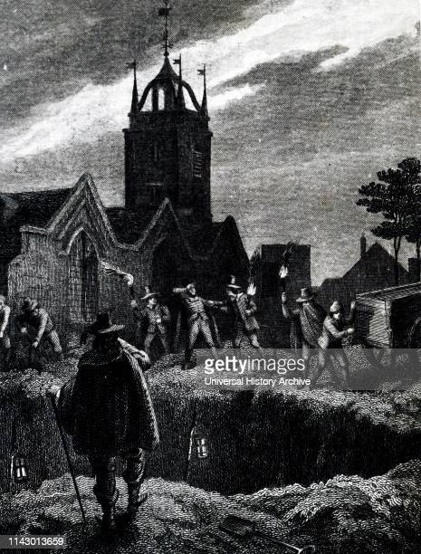 Illustration showing the PLAGUE OF 1665 a cart carrying bodies arriving at the great plague pit in Aldgate London