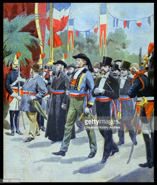 Illustration showing the procession of the Mayors of France, at the Exposition Universelle of 1900. This was a fair held in Paris, France, from 14...